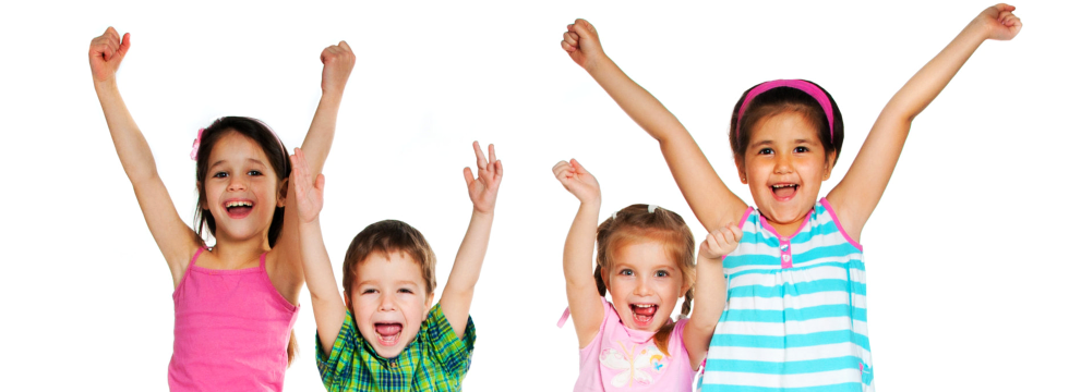 kids happily raising their hands